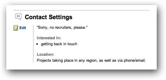 LinkedIn contact settings